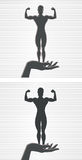 Hand and Female Bodybuilder. Icon of a hand and bodybuilder vector illustration