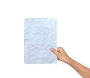 Hand of Female Holding a paper Stock Photos