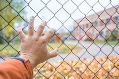 Hand on a fence, there is no way, Chernobyl Stock Photos