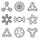 Hand fidget spinner extra vector line icon set. Extra style hand fidget spinner toy vector line style icon set. Stress and anxiety relief. Colorful illustrations vector illustration