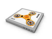 Hand fidget spinner toy in the box, isolated white, 3d Illustration. Hand fidget spinner toy in the box, isolated white. 3d Illustration Stock Image