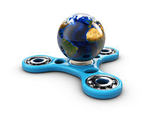 Hand fidget spinner toy with earth, 3d Illustration. Hand fidget spinner toy with earth. 3d Illustration Stock Image
