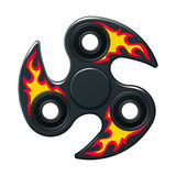 Hand fidget spinner toy - stress and anxiety relief. Hand fidget twisted spinner toy with fire flames decoration - stress and anxiety relief. Blackplastic royalty free illustration