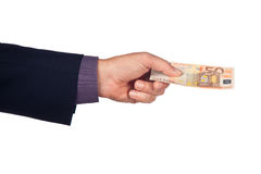 Hand with fifty euro banknote. Male hand with  50 euro  banknote on a white background Royalty Free Stock Image