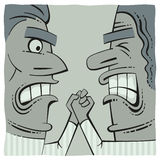 Hand fighting. Hand fight of two angry men Royalty Free Stock Image