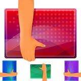 Hand Figure Shield Banner Set Stock Photos