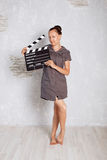 hand with a Film clapperboard Royalty Free Stock Photography