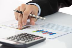 Hand with finance report Royalty Free Stock Photography