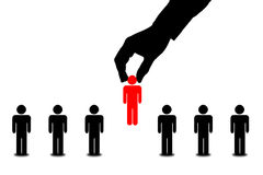 Hand find select person in line of people stock illustration