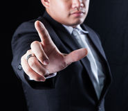 Hand and finger of business man use for business conceptual them Royalty Free Stock Photos