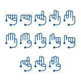 Hand finger counting number icons set sign language concept, Line with Head dot flat design blue color illustration. Isolated on white background, vector eps 10 Stock Illustration