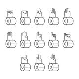 Hand finger counting number with tissue paper icons set sign language concept, outline stroke flat design pink color illustration. Isolated on white background Stock Image