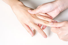 Hand finger dorsal massage Royalty Free Stock Photo