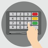 Hand finger entering with PIN code combination or password on a keypad. Flat style vector icon ATM Stock Images