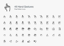 Hand Finger Gestures Pixel Perfect Icons (line style). A set of hand gestures and fingers action operating smart devices such as mobile phone and computer. This Stock Photos