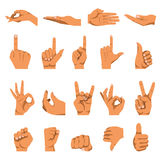Hand and finger gestures vector flat isolated icons set. Hand gestures and finger different signs. Vector flat isolated icons set on white background. Symbols of Royalty Free Stock Image