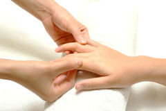 Hand and finger massage Royalty Free Stock Photos
