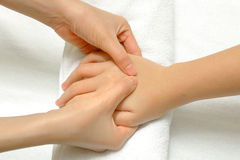 Hand and finger massage Royalty Free Stock Photo