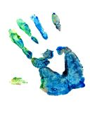Hand Finger Paint. Art over white Royalty Free Stock Image