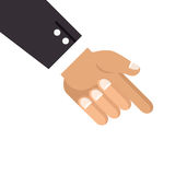 Hand with finger pointing down. Vector illustration Stock Photography