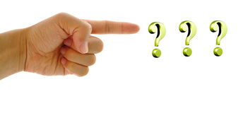 Hand finger pointing on three question mark. Stock Photo