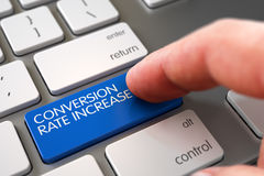 Hand Finger Press Conversion Rate Increase Button. 3D. Royalty Free Stock Photo