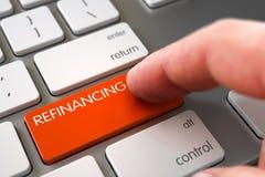 Hand Finger Press Refinancing Key. 3D. Business Concept - Male Finger Pointing Orange Refinancing Keypad on Laptop Keyboard. 3D Illustration Stock Images