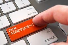 Hand Finger Press Risk Assessment Keypad. 3D. Man Finger Pressing Orange Risk Assessment Key on Computer Keyboard. 3D Render Stock Images