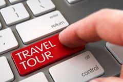 Hand Finger Press Travel Tour Button. 3D Illustration. Man Finger Pressing Red Travel Tour Key on Modern Keyboard. 3D Render Stock Photography