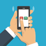 Hand, finger pressing buttons no or yes on a mobile screen, app. Vector illustration. The concept of choice, the right choice and a wrong decision Stock Photo
