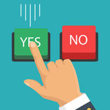 Hand, finger pressing buttons no or yes. Vector illustration. Vector illustration. The concept of choice, the right choice and a wrong decision. Hand, finger Royalty Free Stock Photos