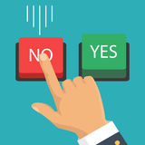 Hand, finger pressing buttons no or yes. Vector illustration. Vector illustration. The concept of choice, the right choice and a wrong decision. Hand, finger Royalty Free Stock Photo