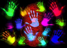 Hand Finger Print Colorful. Multi colored hand prints combined with a finger print on a black background Royalty Free Stock Photography