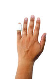 Hand with a finger splint Stock Images