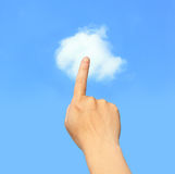 Hand finger touch Cloud in the sky Stock Photography