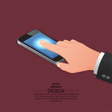 Hand finger. On the touch screen of mobile phone similar to the iPhone. A vector illustration in isometric, 3D style Royalty Free Stock Image