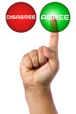 Hand Finger Touching Agree Button Futuristic Stock Photo