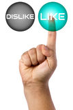 Hand Finger Touching Like Button Futuristic Stock Images