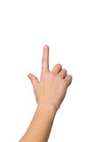 Hand with a finger touching somethimg Royalty Free Stock Photos