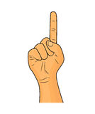 Hand finger up gesture vector - realistic cartoon illustration. Image of human hand gesture pointing up. Picture  on white Stock Photography