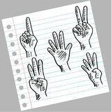 Hand and fingers count. Hand drawing illustration Royalty Free Stock Images