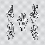 Hand and fingers count. Hand drawing illustration Stock Photo