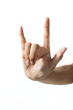 Hand with fingers forming love sign Royalty Free Stock Images