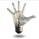 Hand fingers light bulb. Hand fingers spread light bulb Stock Photos