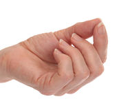 Hand with Fingers & Thumb Touching Stock Photo