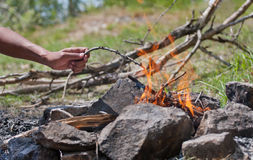 Hand in the fire. Hand throws a twig into the fire Royalty Free Stock Images