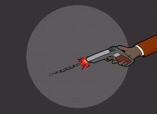 Hand Firing Gun in Dark. Unidentifiable hand firing pistol in the dark Royalty Free Stock Photo