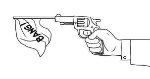 Hand Firing Gun Flag Bang 2D Animation stock video