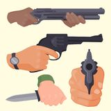 Hand firing with gun protection ammunition crime military police firearm hands vector. Stock Photography