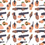 Hand firing with gun protection ammunition crime seamless pattern background military police firearm hands vector. Hand firing with gun protection ammunition Stock Photos